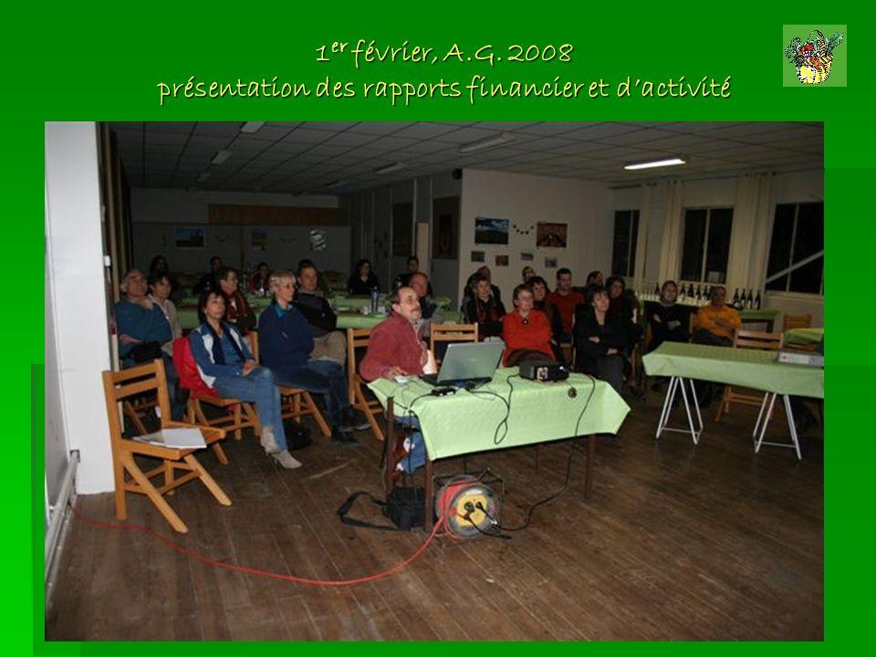 1er février, A.G. 2008 présentation des rapports financier et d'activité