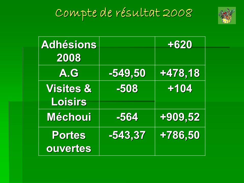 Compte de résultat 2008 Adhésions 2008 +620 A.G -549,50 +478,18