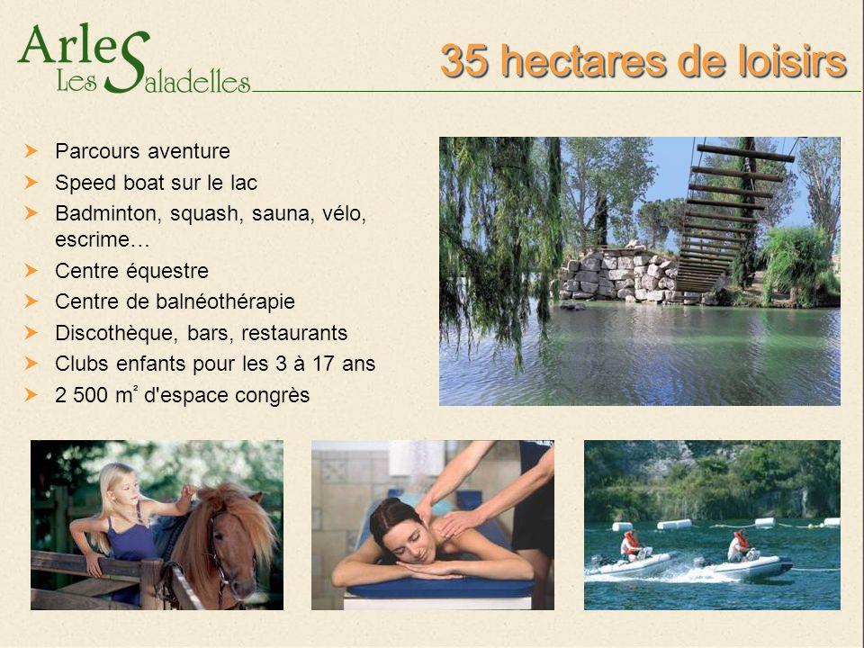 35 hectares de loisirs Parcours aventure Speed boat sur le lac