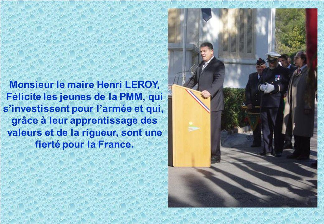 Monsieur le maire Henri LEROY, Félicite les jeunes de la PMM, qui