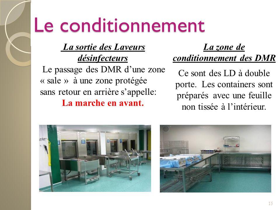 La sortie des Laveurs désinfecteurs La zone de conditionnement des DMR