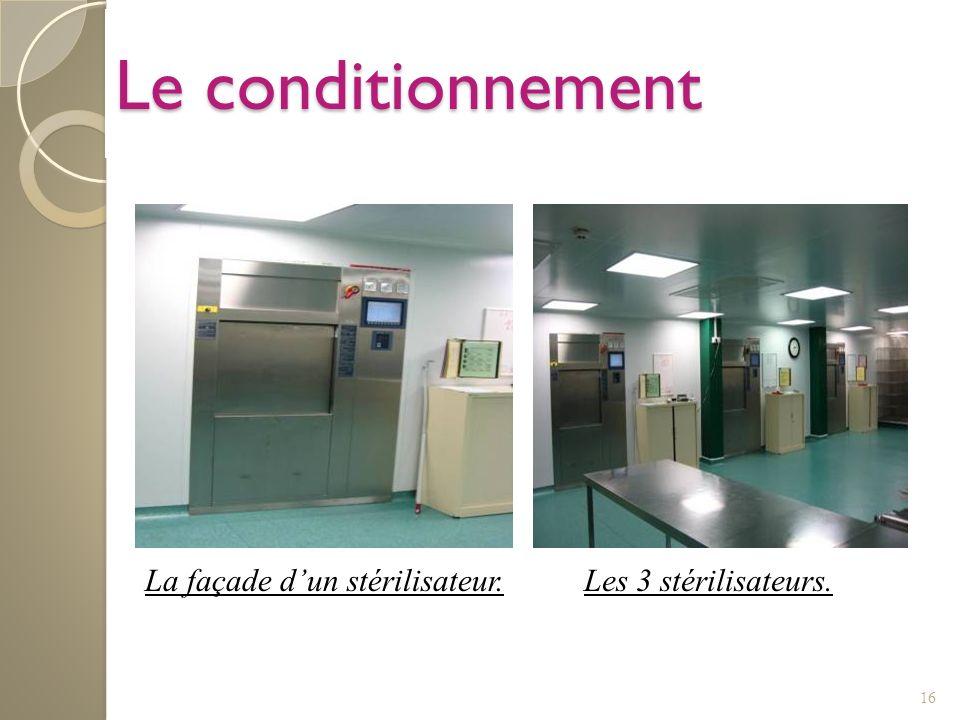 Le conditionnement La façade d'un stérilisateur. Les 3 stérilisateurs.