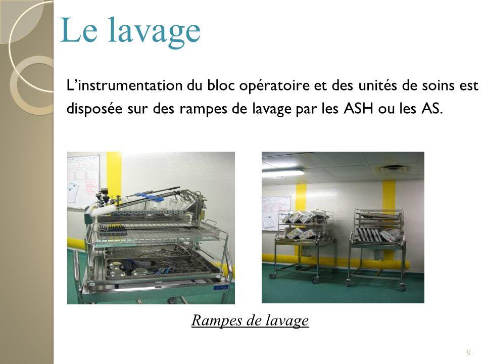 Le lavageL'instrumentation du bloc opératoire et des unités de soins est disposée sur des rampes de lavage par les ASH ou les AS.