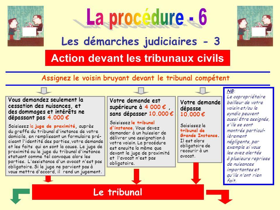 Les démarches judiciaires - 3 Action devant les tribunaux civils