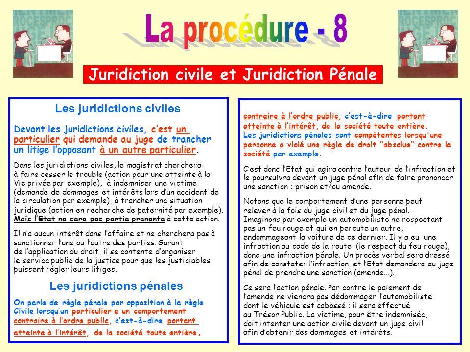 Juridiction civile et Juridiction Pénale