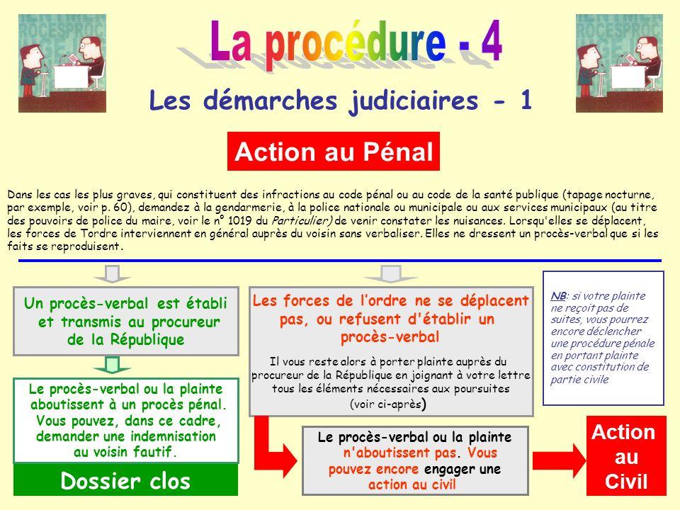 La procédure - 4 Les démarches judiciaires - 1 Action au Pénal