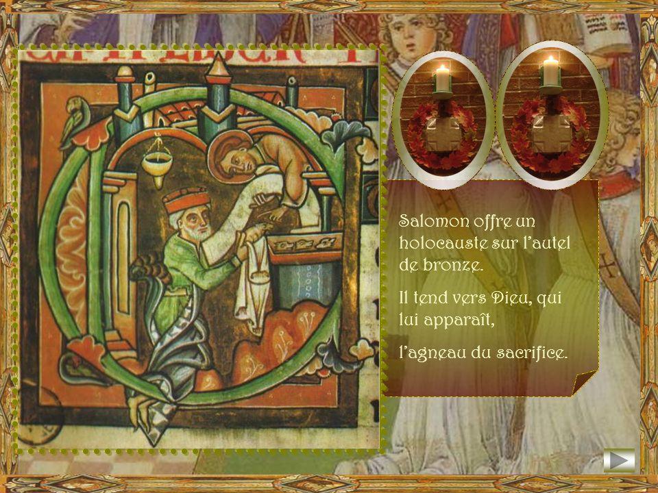 Salomon offre un holocauste sur l'autel de bronze.