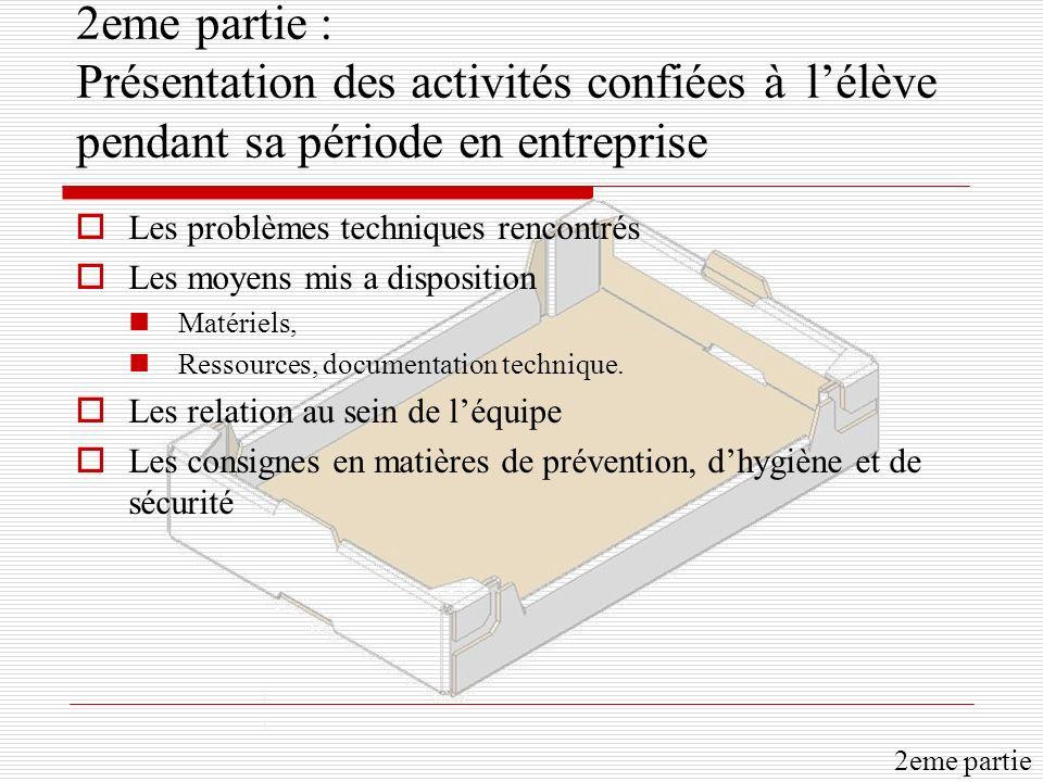 2eme partie : Présentation des activités confiées à