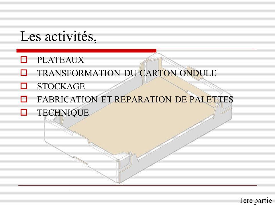 Les activités, PLATEAUX TRANSFORMATION DU CARTON ONDULE STOCKAGE