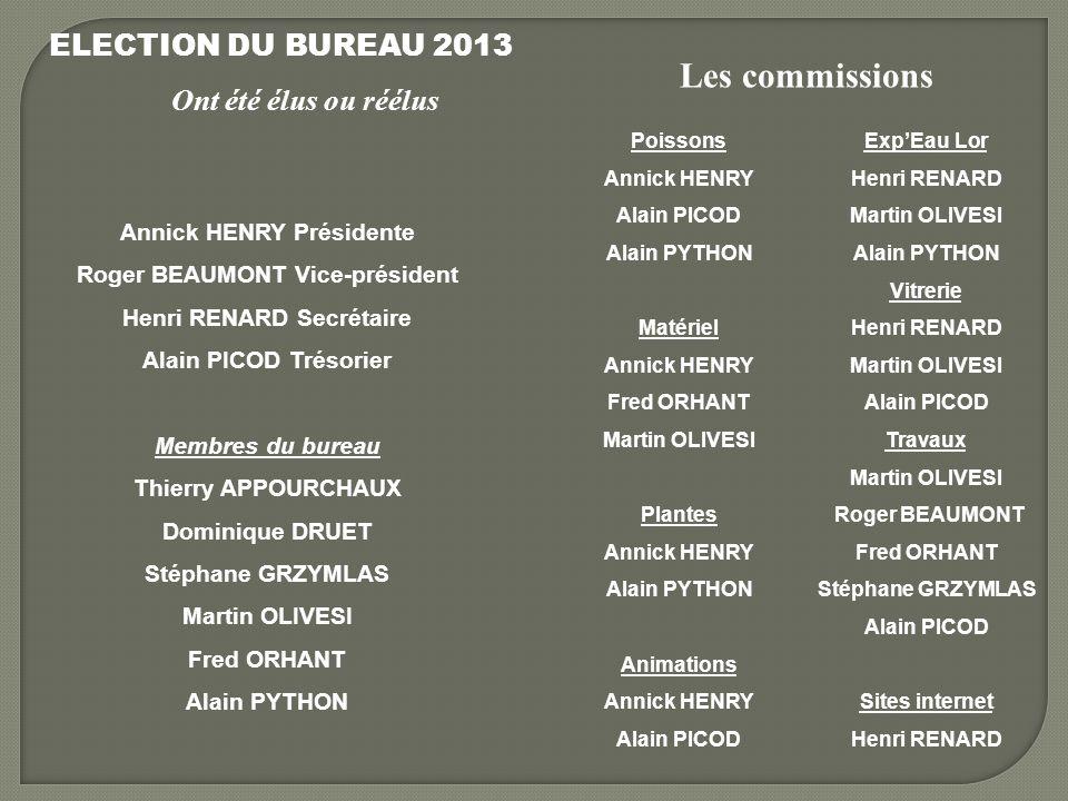 Les commissions ELECTION DU BUREAU 2013 Ont été élus ou réélus