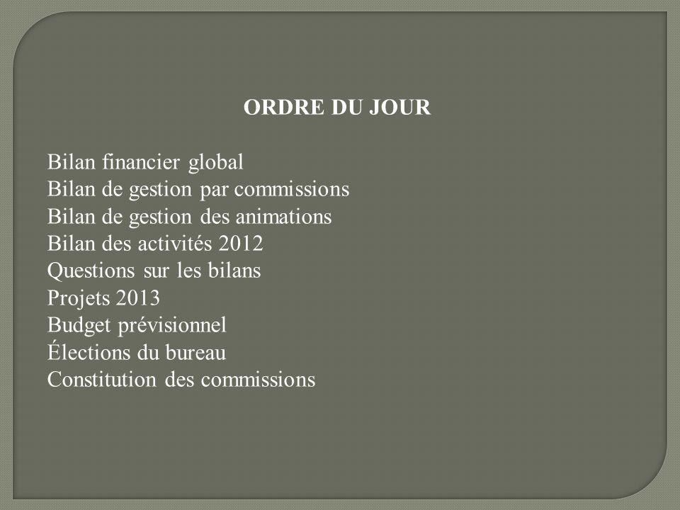 ORDRE DU JOUR Bilan financier global. Bilan de gestion par commissions. Bilan de gestion des animations.