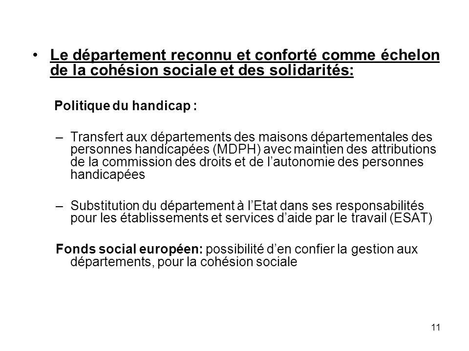 Le département reconnu et conforté comme échelon de la cohésion sociale et des solidarités: