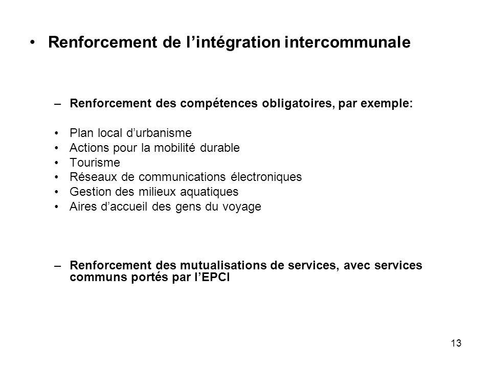 Renforcement de l'intégration intercommunale