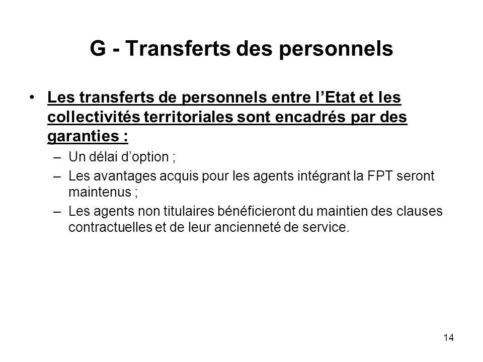 G - Transferts des personnels