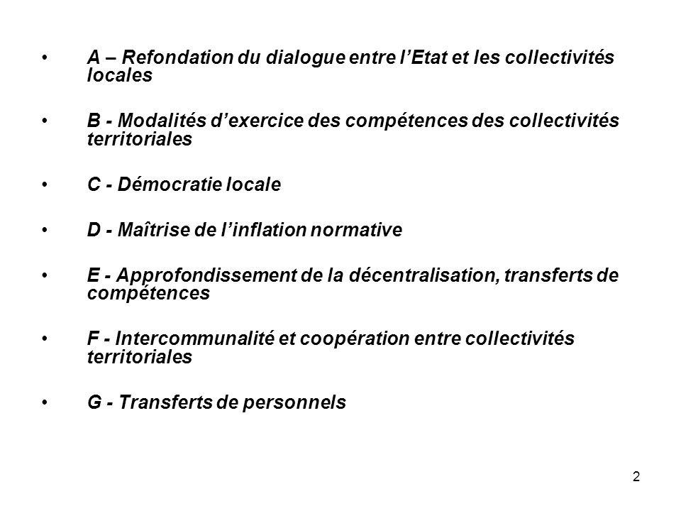 A – Refondation du dialogue entre l'Etat et les collectivités locales