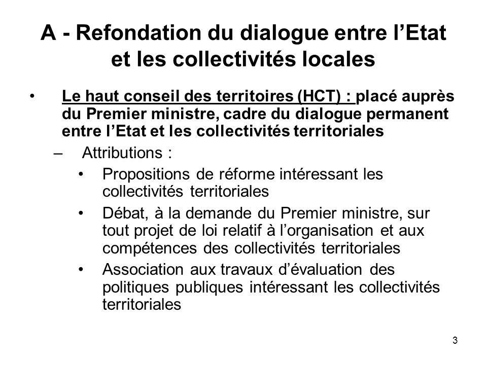A - Refondation du dialogue entre l'Etat et les collectivités locales