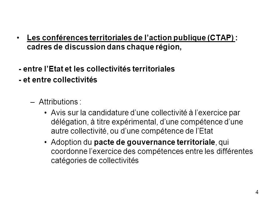 Les conférences territoriales de l'action publique (CTAP) : cadres de discussion dans chaque région,