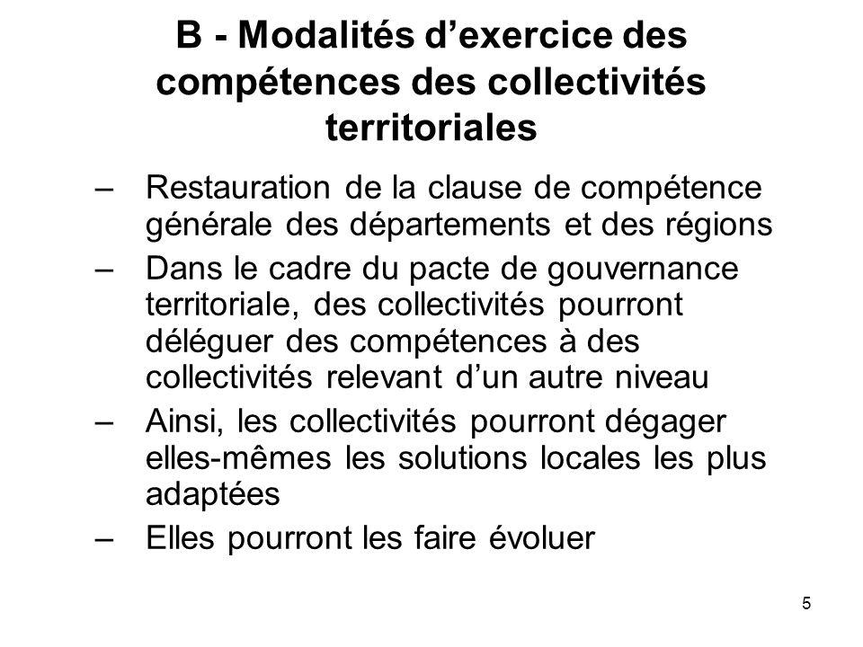 B - Modalités d'exercice des compétences des collectivités territoriales