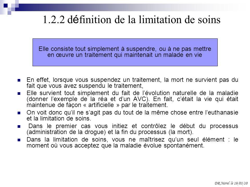 1.2.2 définition de la limitation de soins