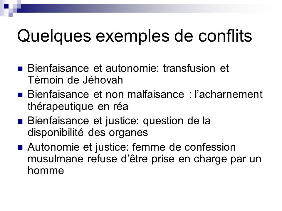 Quelques exemples de conflits