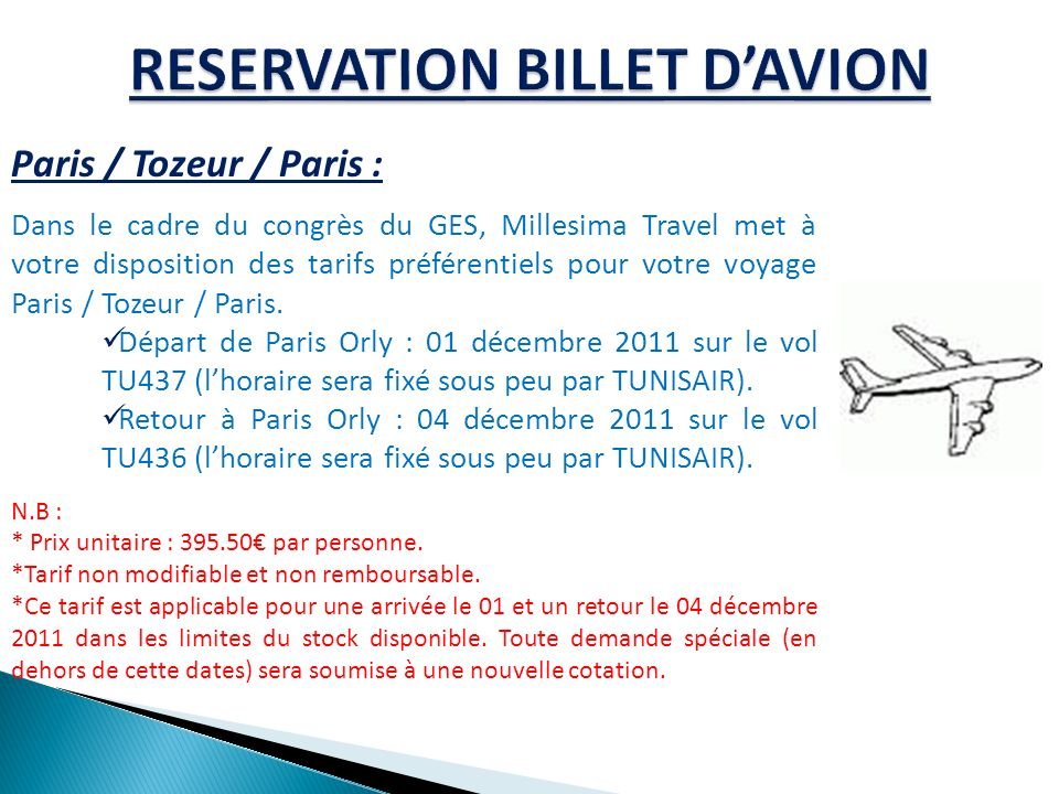 RESERVATION BILLET D'AVION