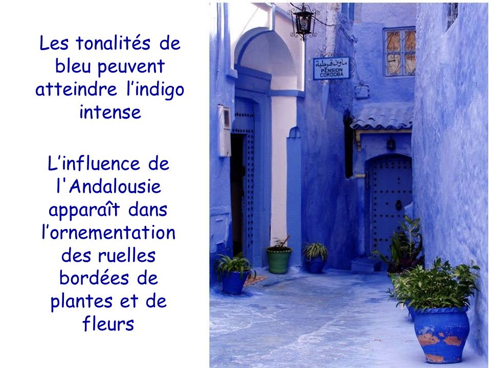 Les tonalités de bleu peuvent atteindre l'indigo intense