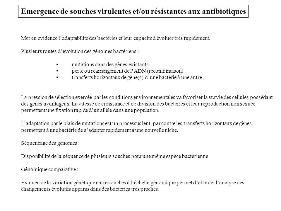 Emergence de souches virulentes et/ou résistantes aux antibiotiques