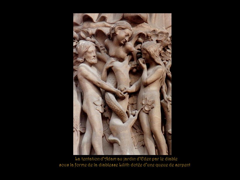 La tentation d'Adam au jardin d'Eden par le diable