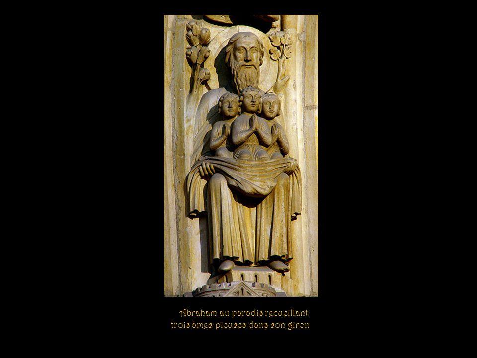 Abraham au paradis recueillant trois âmes pieuses dans son giron