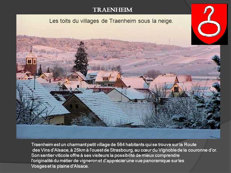 Les toits du villages de Traenheim sous la neige.