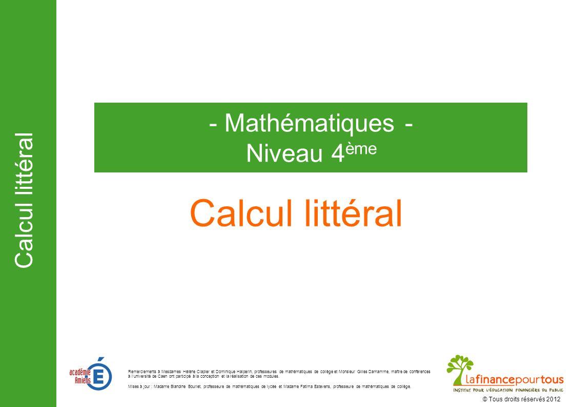 Calcul littéral - Mathématiques - Niveau 4ème