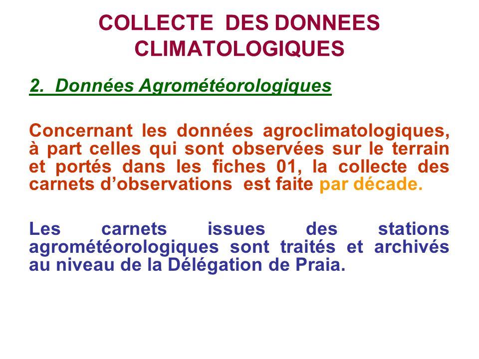 COLLECTE DES DONNEES CLIMATOLOGIQUES