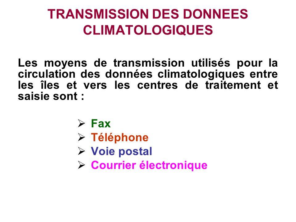 TRANSMISSION DES DONNEES CLIMATOLOGIQUES