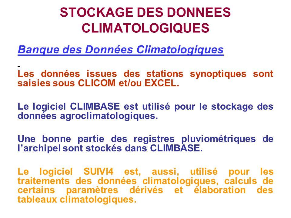STOCKAGE DES DONNEES CLIMATOLOGIQUES