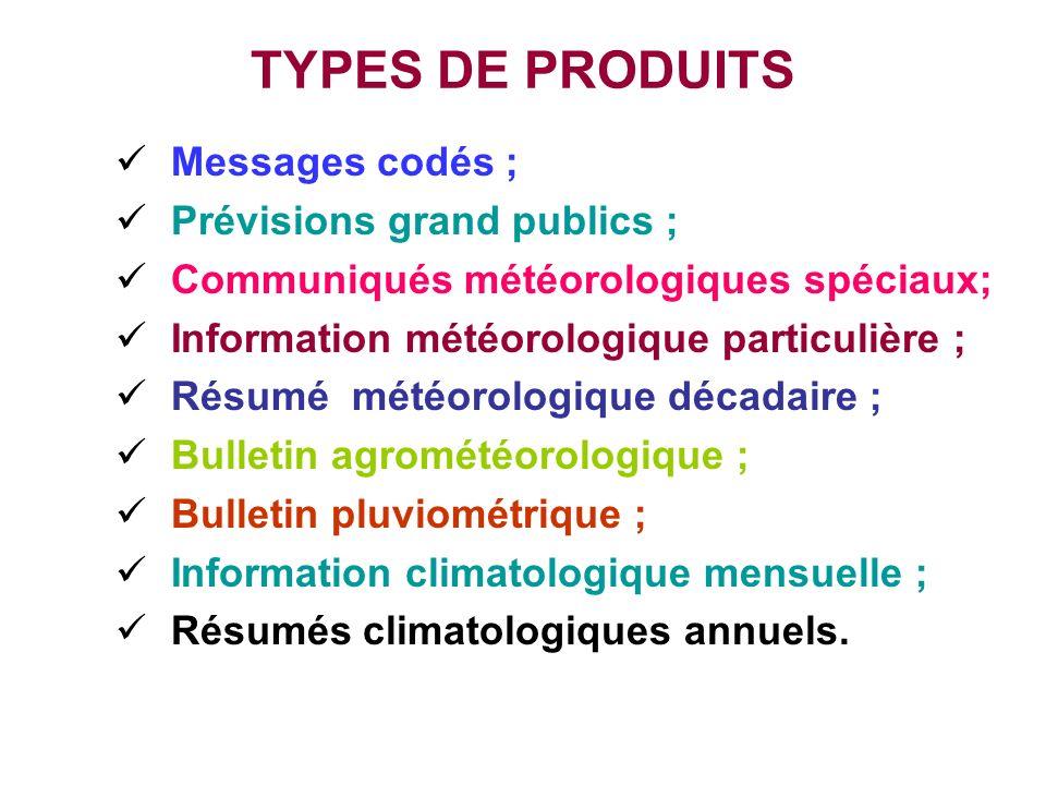 TYPES DE PRODUITS Messages codés ; Prévisions grand publics ;