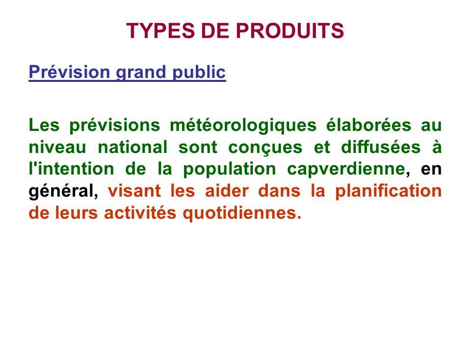 TYPES DE PRODUITS Prévision grand public