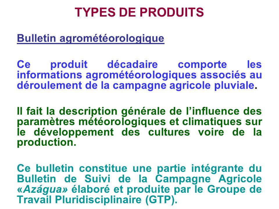 TYPES DE PRODUITS Bulletin agrométéorologique