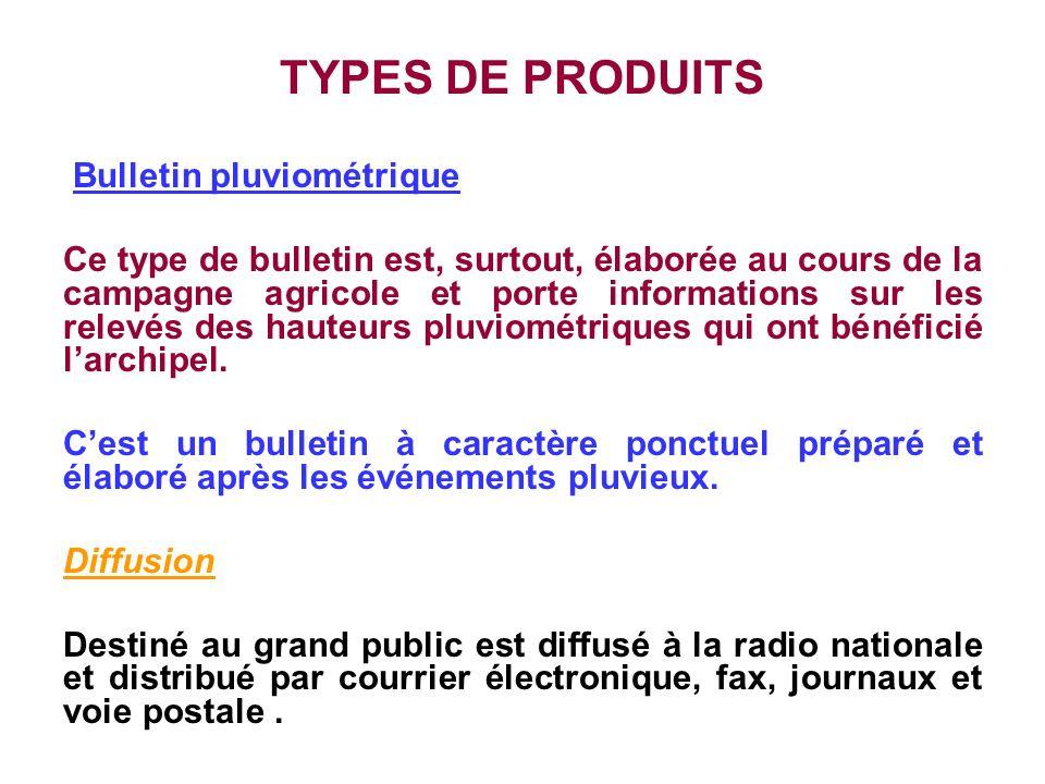 TYPES DE PRODUITS Bulletin pluviométrique