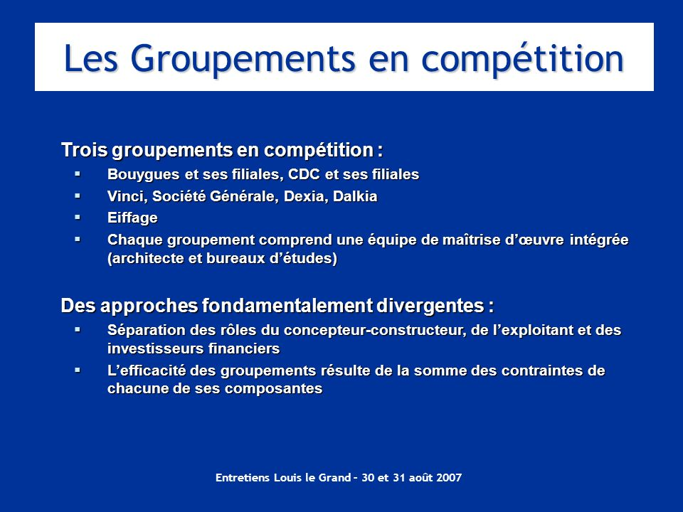 Les Groupements en compétition
