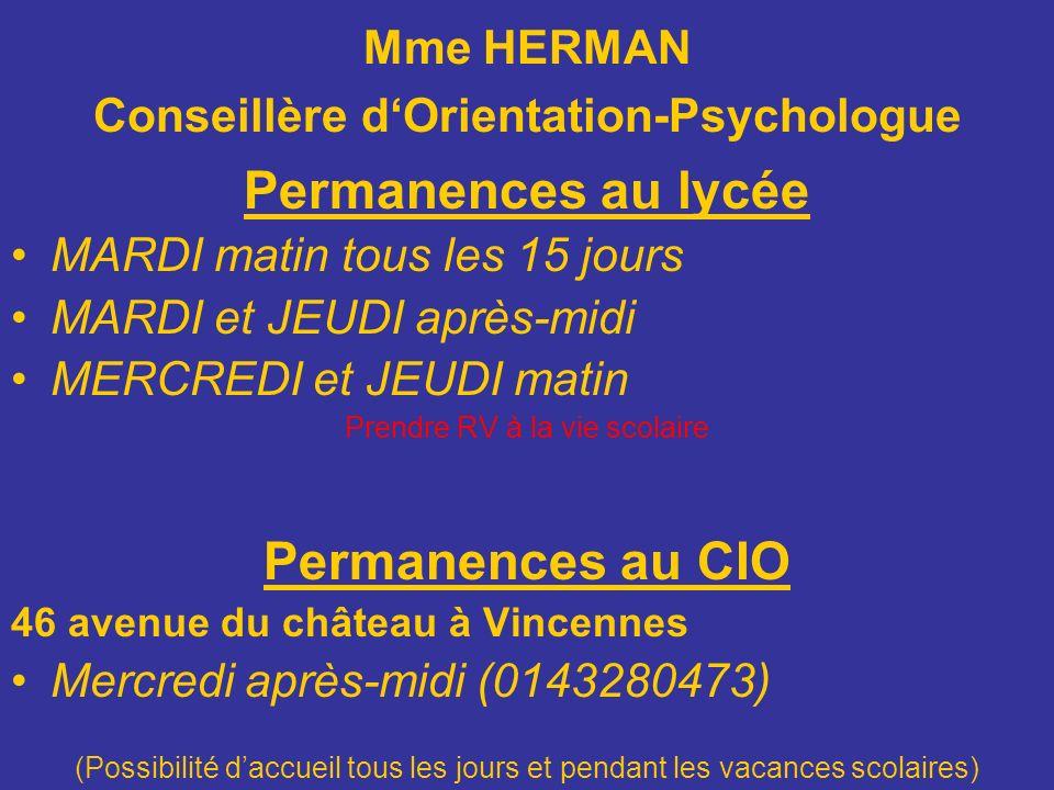 Mme HERMAN Conseillère d'Orientation-Psychologue