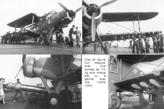 Mise en œuvre d'un Albacore avec trois bombes de 113 Kg sous chaque aile ou, à gauche, avec une torpille (IWM)