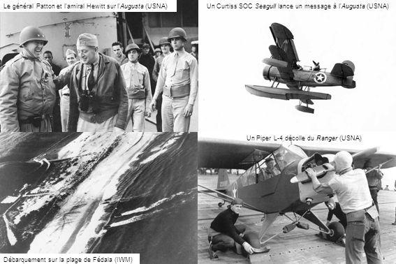 Le général Patton et l amiral Hewitt sur l Augusta (USNA)