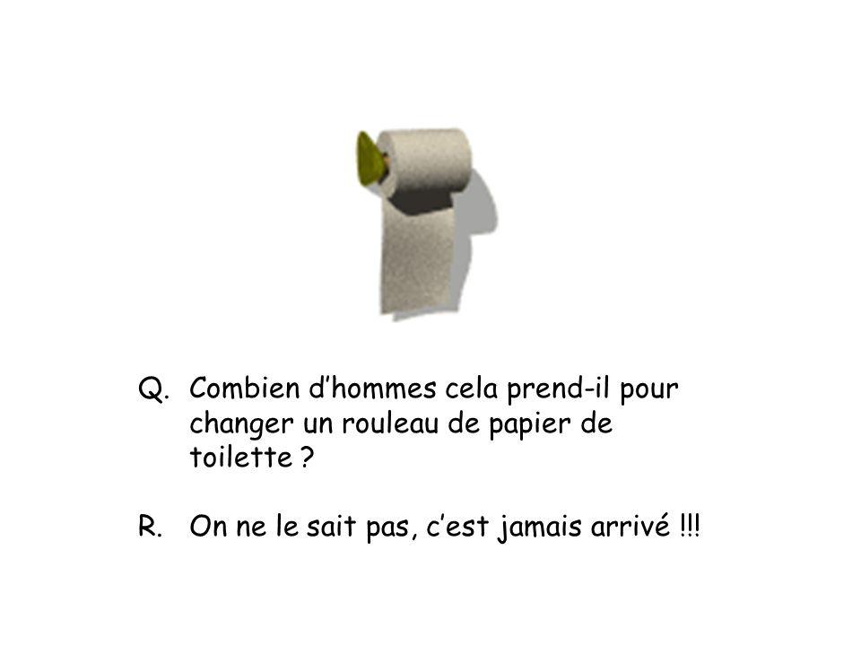 Q. Combien d'hommes cela prend-il pour changer un rouleau de papier de toilette