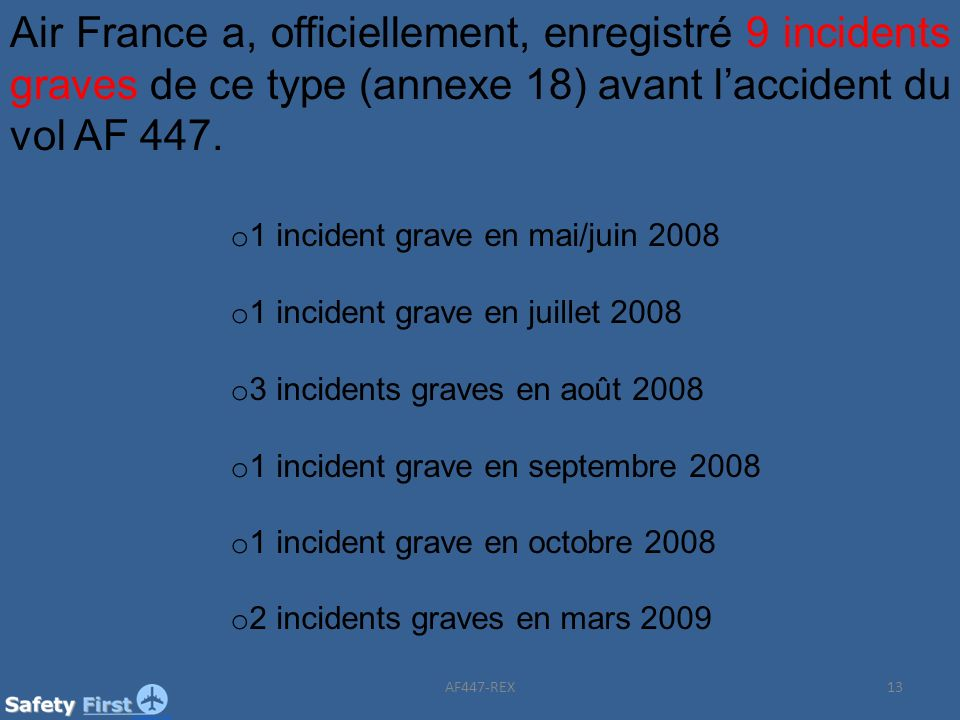 Air France a, officiellement, enregistré 9 incidents graves de ce type (annexe 18) avant l'accident du vol AF 447.