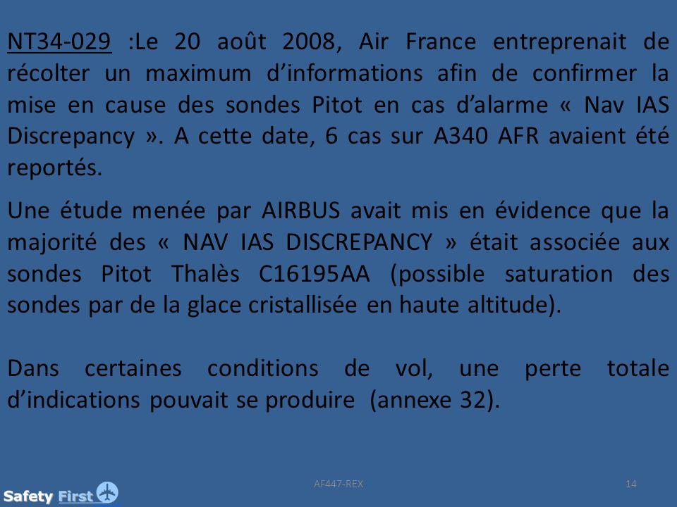 NT34-029 :Le 20 août 2008, Air France entreprenait de récolter un maximum d'informations afin de confirmer la mise en cause des sondes Pitot en cas d'alarme « Nav IAS Discrepancy ». A cette date, 6 cas sur A340 AFR avaient été reportés.