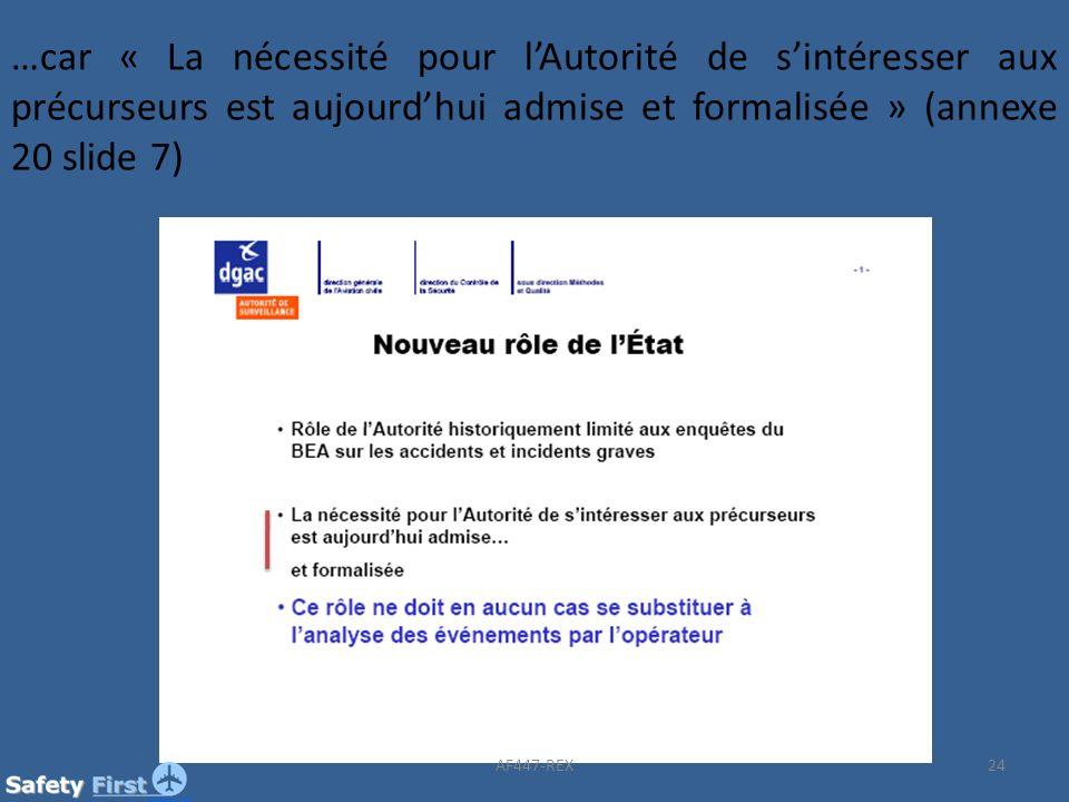 …car « La nécessité pour l'Autorité de s'intéresser aux précurseurs est aujourd'hui admise et formalisée » (annexe 20 slide 7)