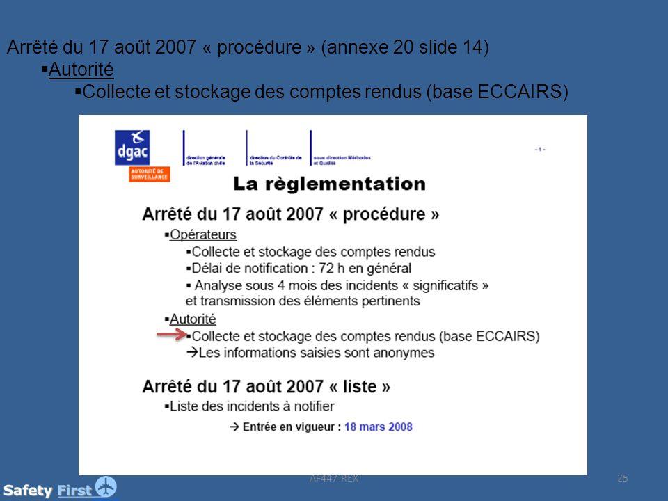 Arrêté du 17 août 2007 « procédure » (annexe 20 slide 14) Autorité