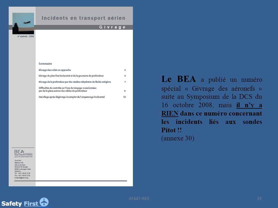 Le BEA a publié un numéro spécial « Givrage des aéronefs » suite au Symposium de la DCS du 16 octobre 2008, mais il n'y a RIEN dans ce numéro concernant les incidents liés aux sondes Pitot !!