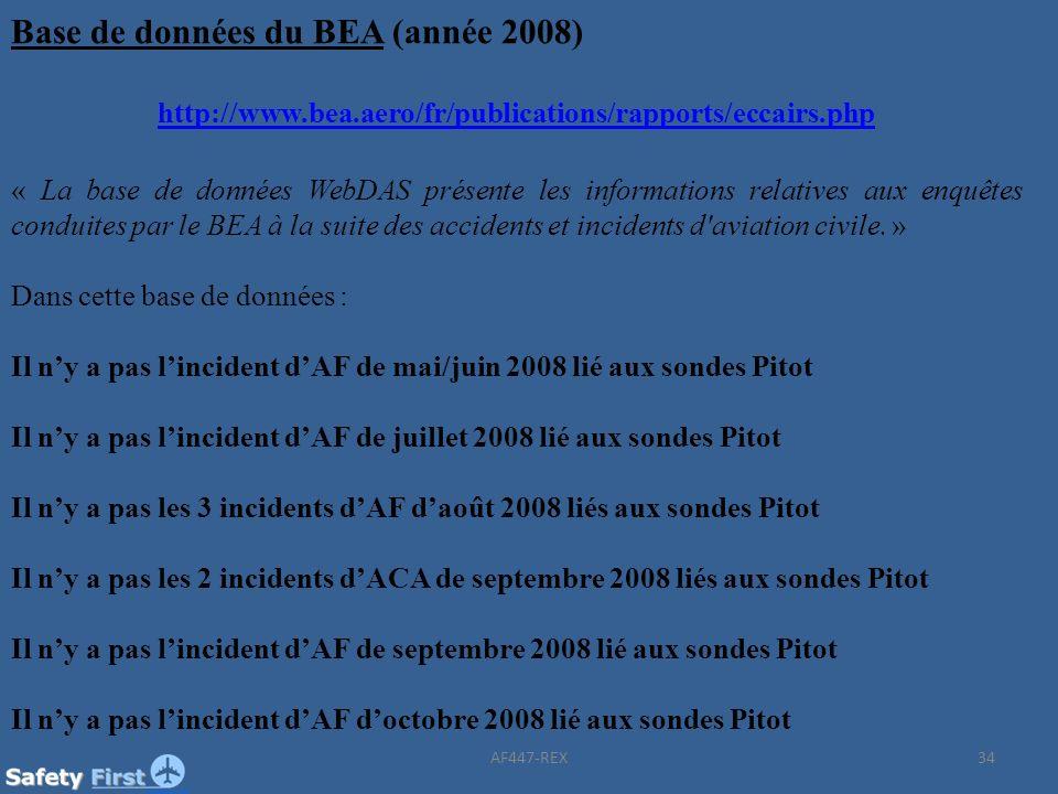 Base de données du BEA (année 2008)