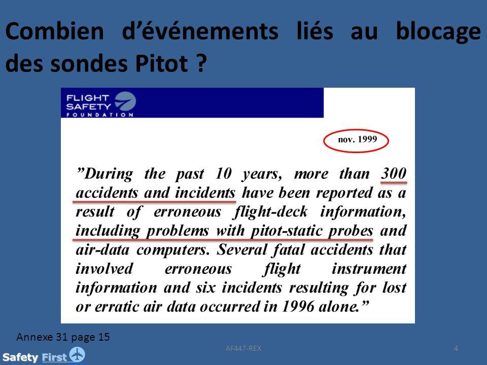 Combien d'événements liés au blocage des sondes Pitot